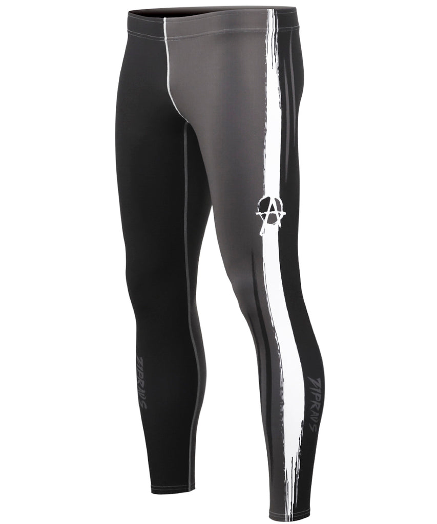 Black&White&Gray Line Compression Pants