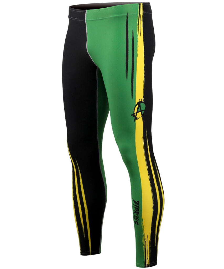 Black&Green&Yellow Line Compression Tights
