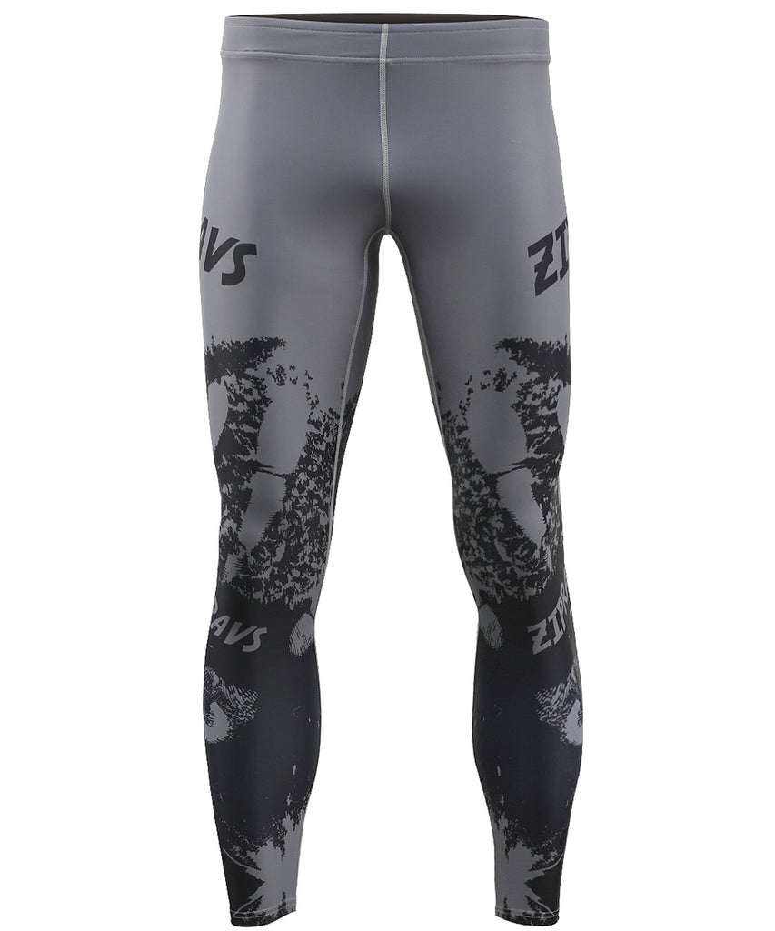 Gray Fingerprint Compression Design Tights