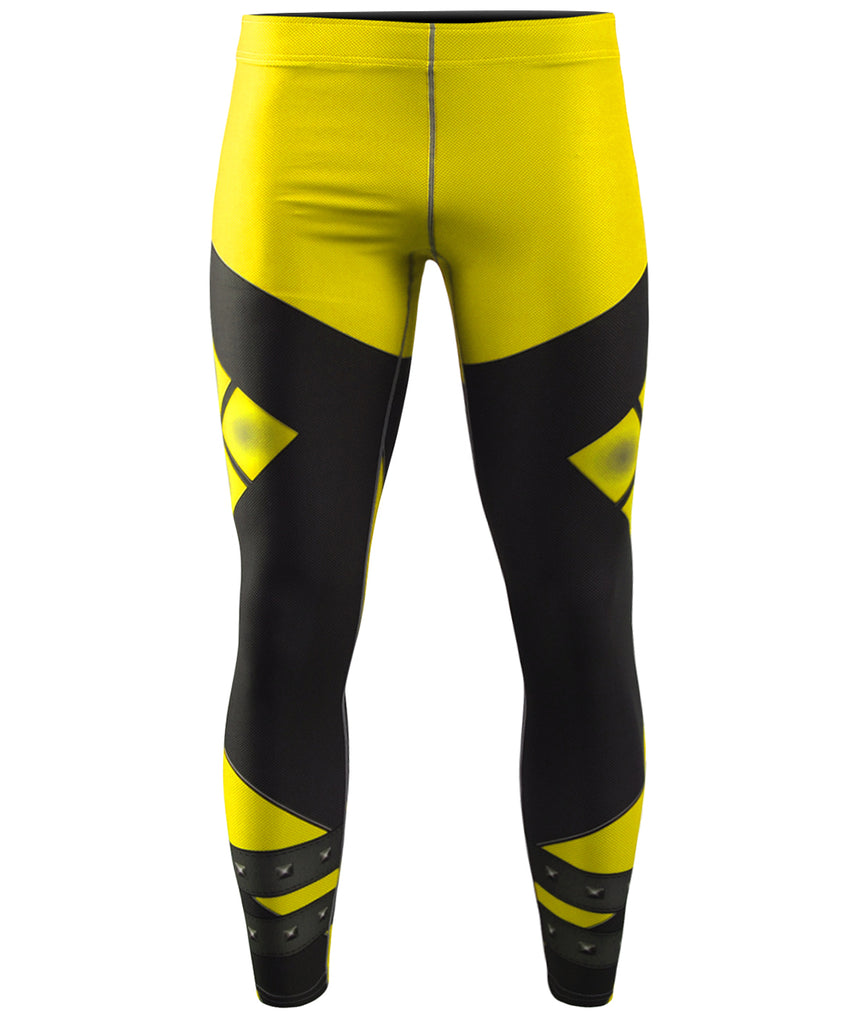 Yellow Shapes Design Long Tight Pants