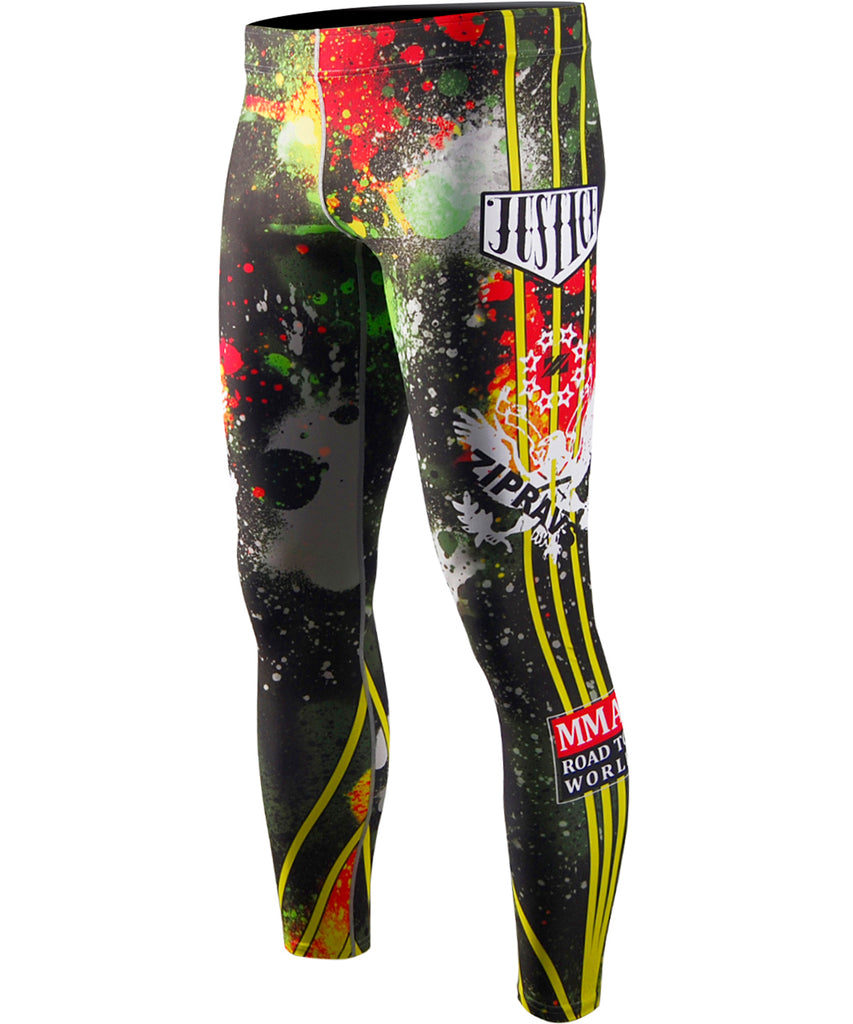 Green,Red,Yellow Color Spary Design Leggings