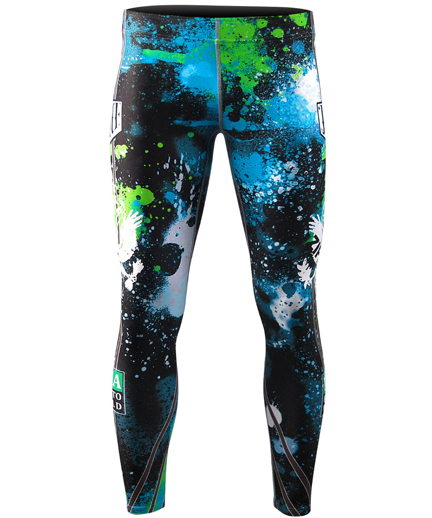 Blue Green Painting Performance Compression Tights