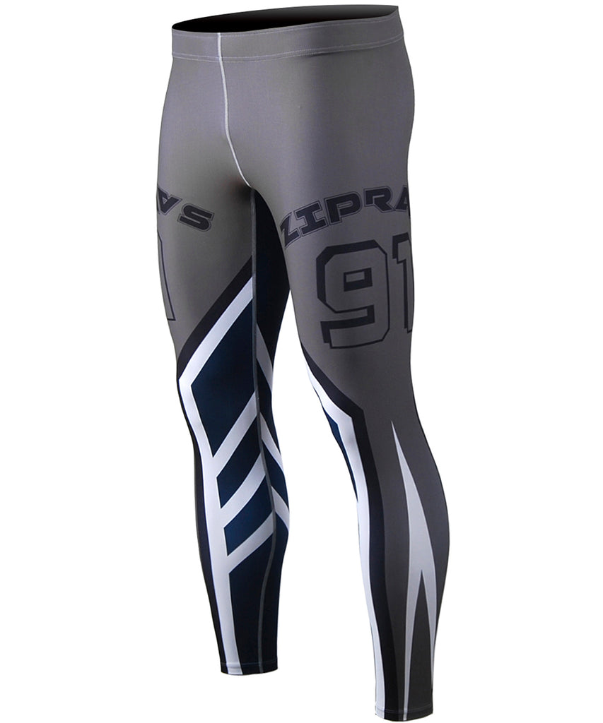 Background color : Gray , Blue&White Line Design Tights