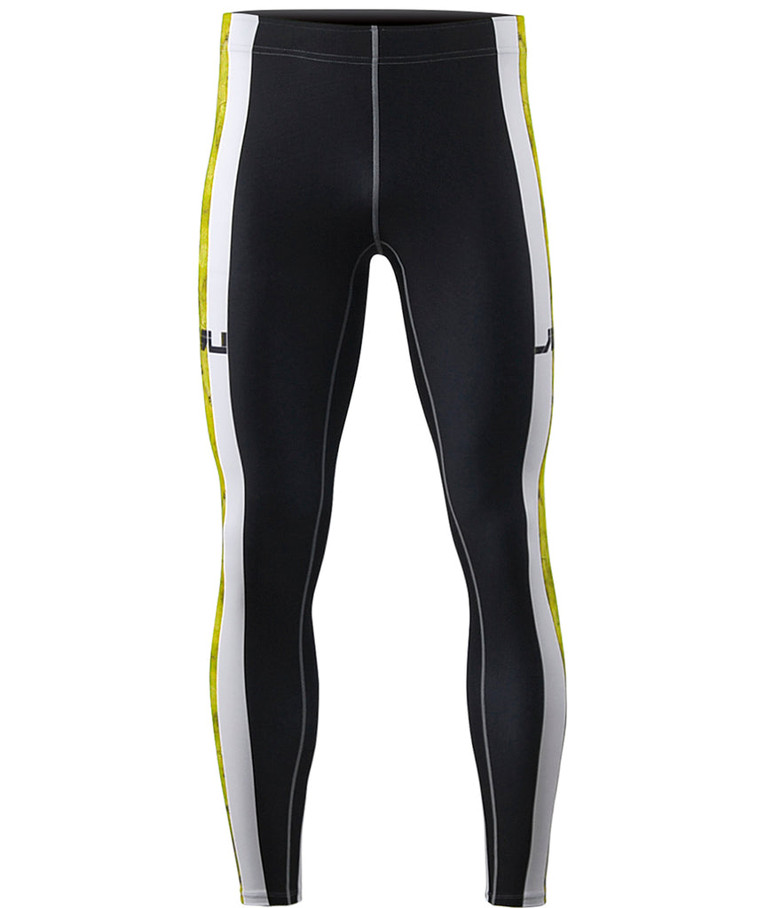 Yellow&White Curve Line Design Tight Pants