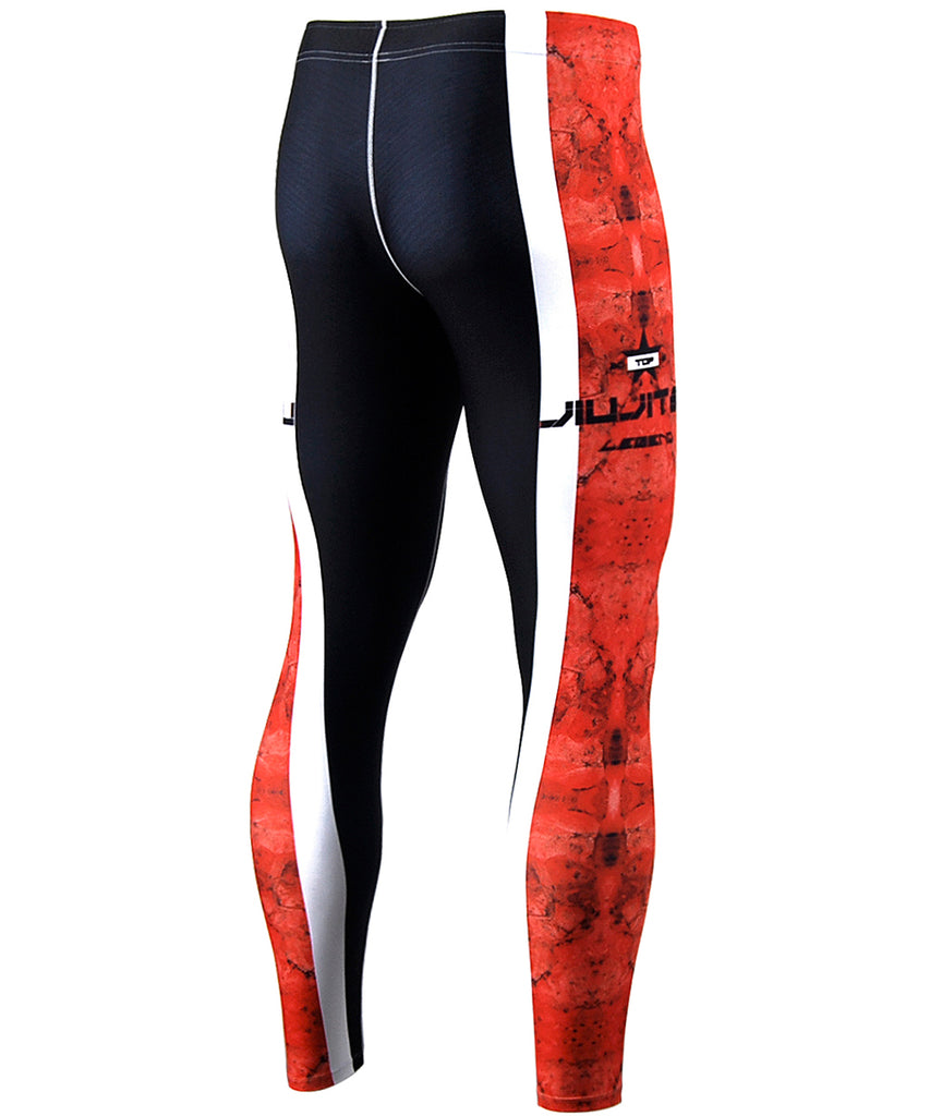 Red&White Curve Line Design Tight Pants