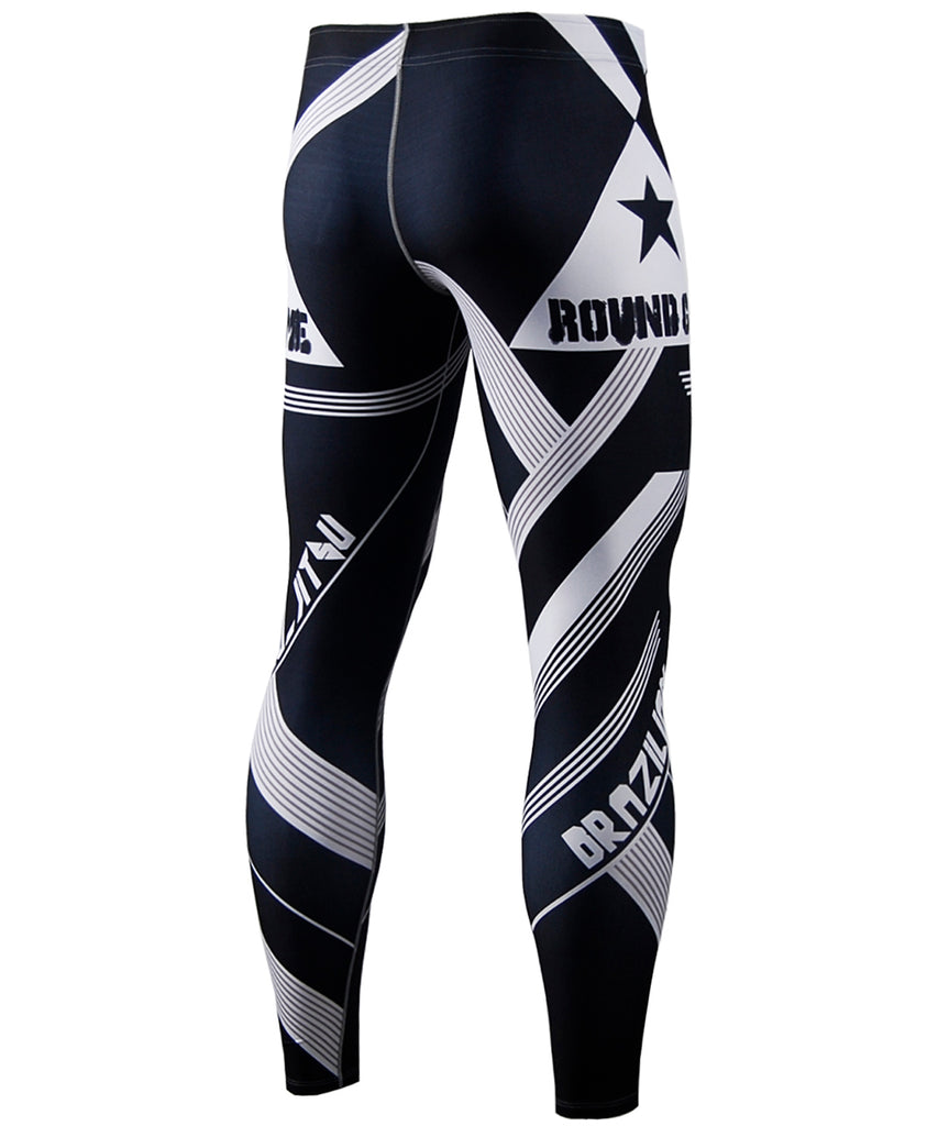 White Stripe Design , Big Size Star Compression Tights