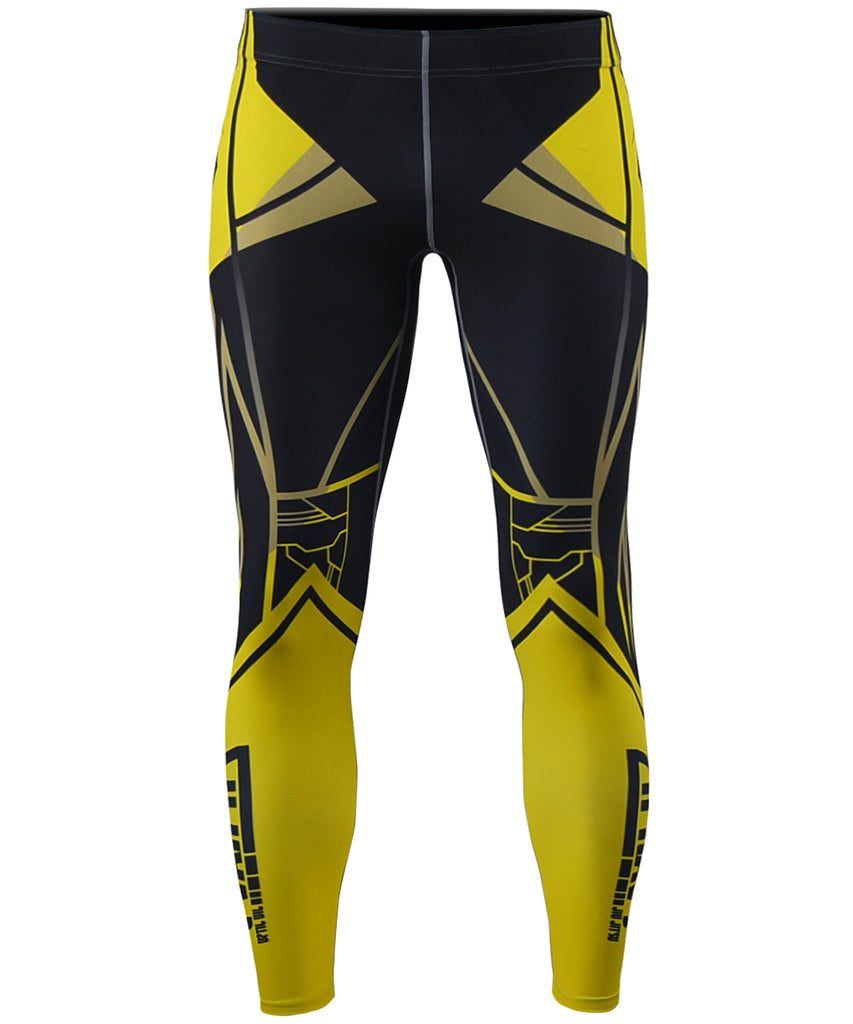 Yellow Line Compression Tights