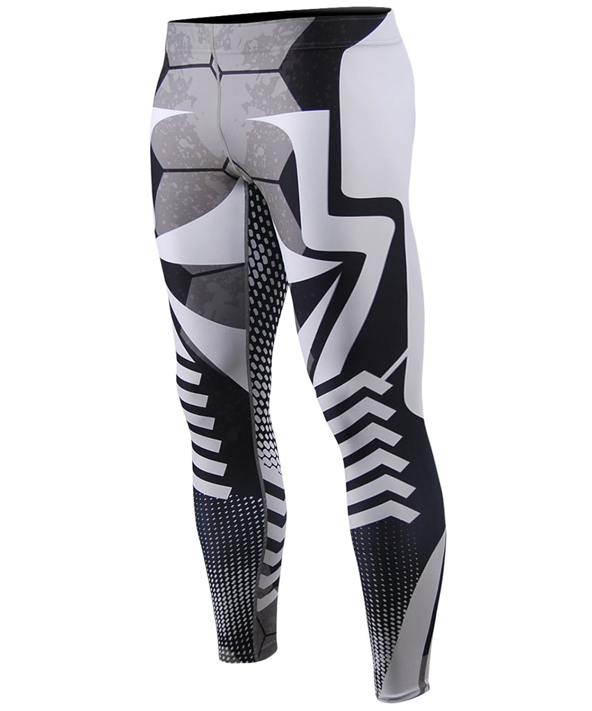 Big White Line&Dots Pattern Compression Tights