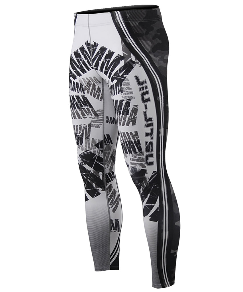 Camo Pattern,White&Black Text Design Tights
