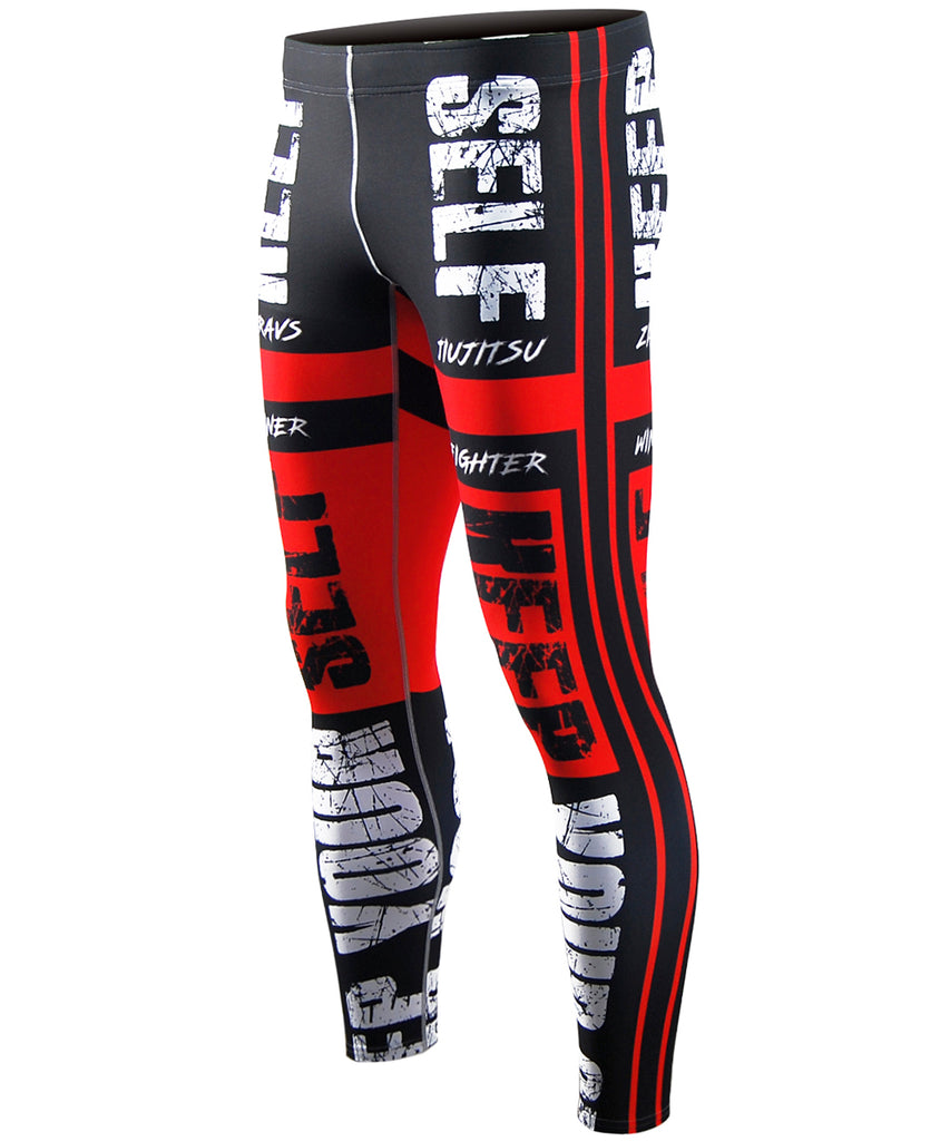 red compression gym workout tights