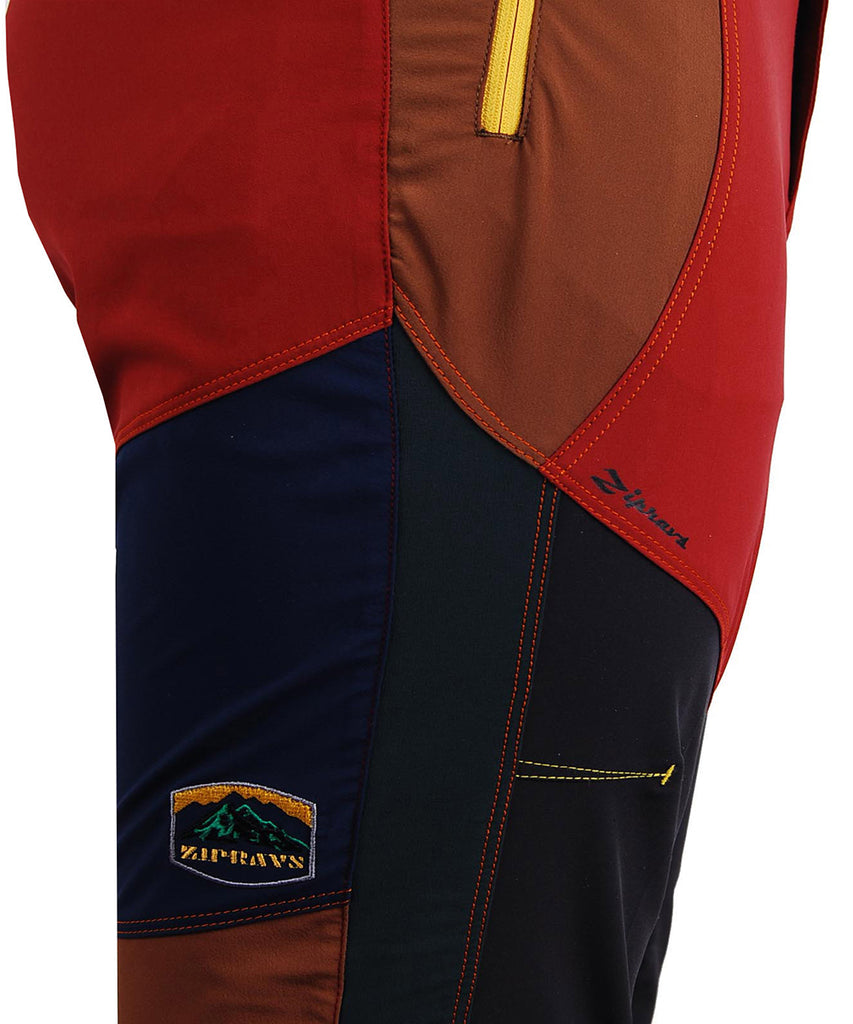 detail view / red hiking lightweight trekking trousers for men