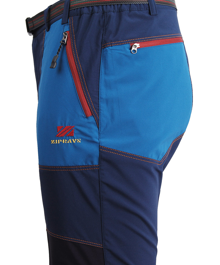 Detail view / Blue hiking outdoor mountain pants