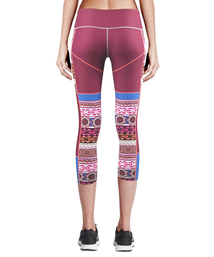 pink compression tight capri leggings