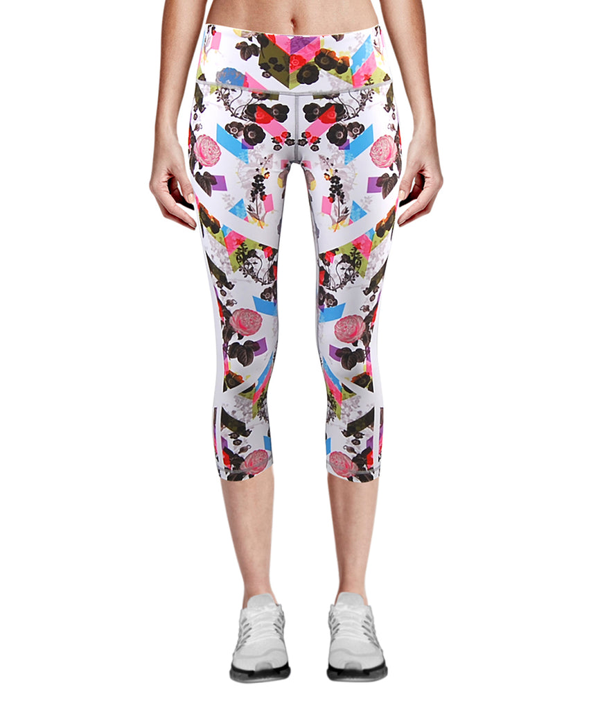 flower &leaf white design capri leggings