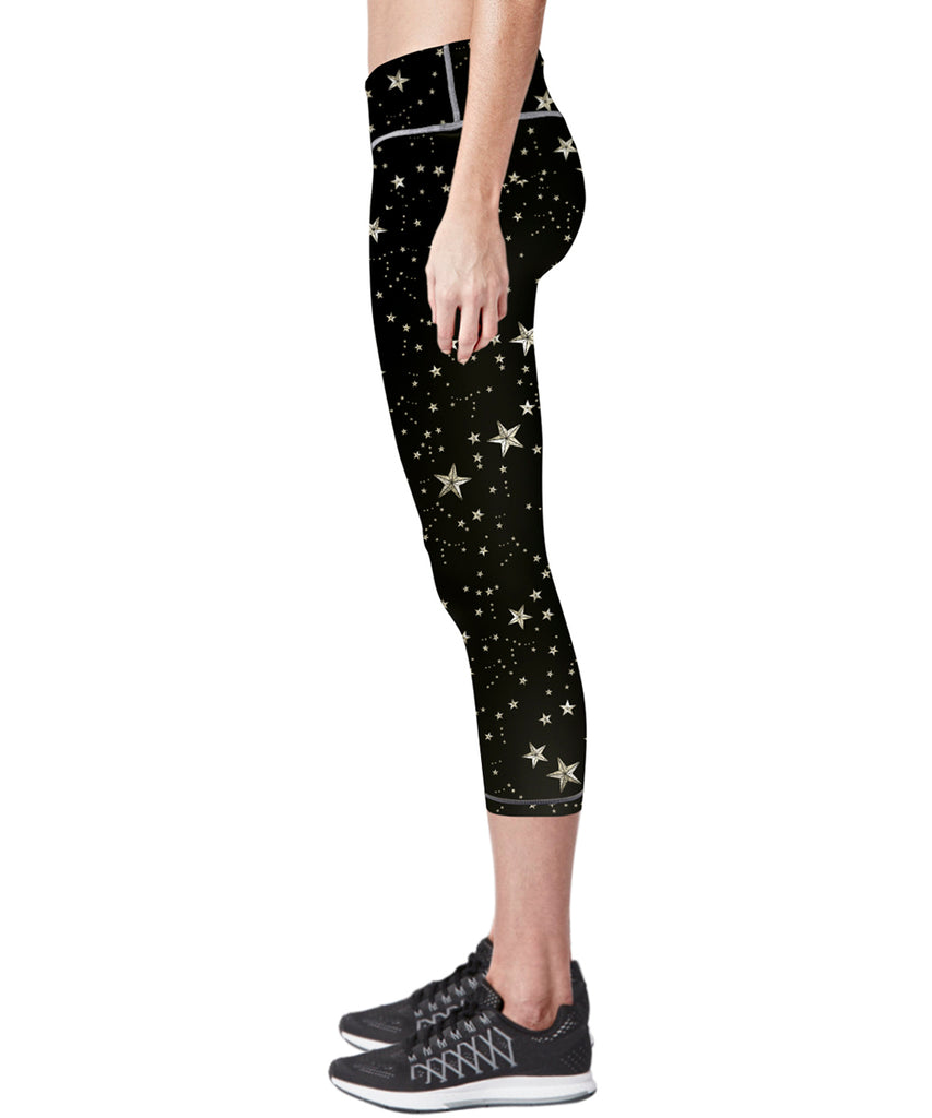 black star pattern design compression capri pants