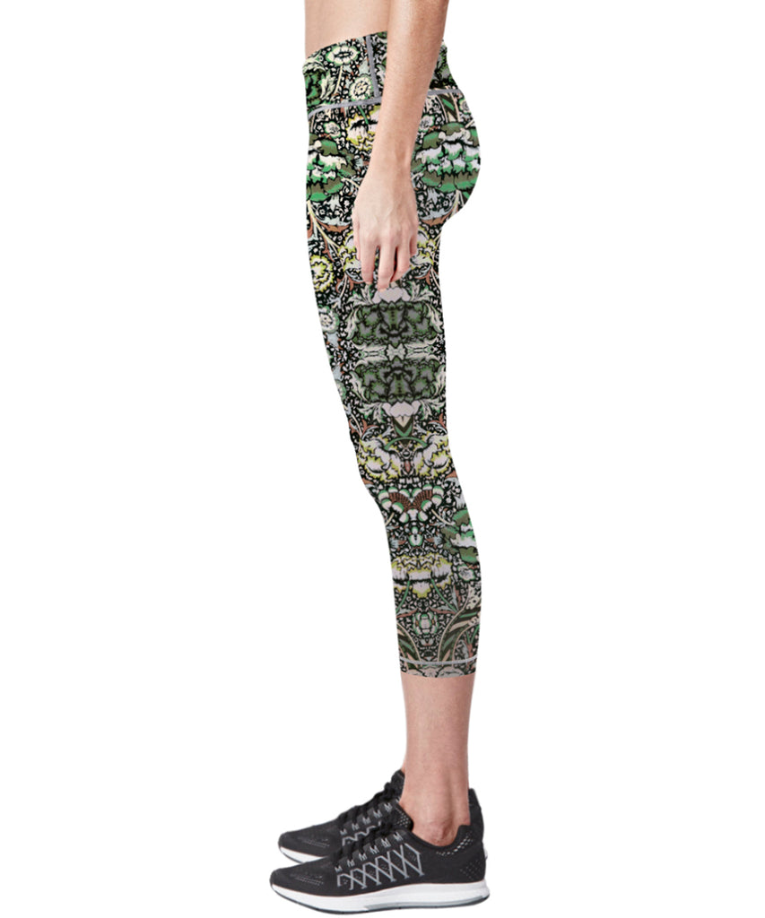 green yoga running gym capri pants for women