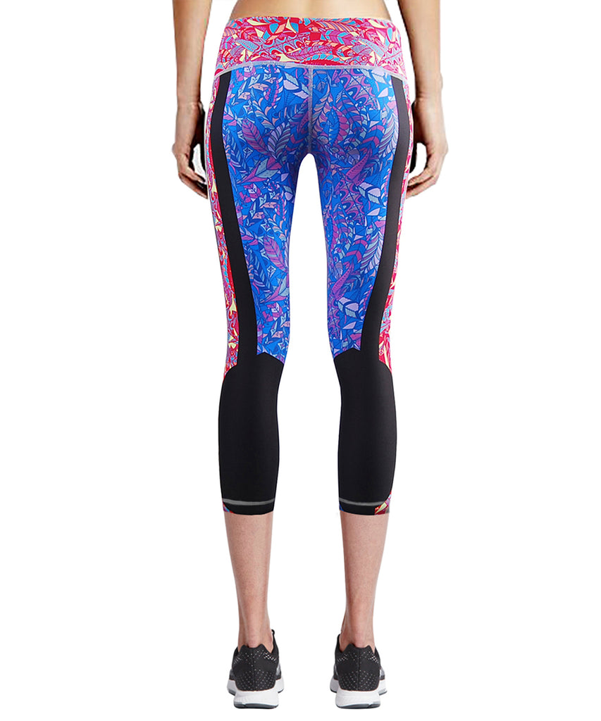 blue&pink high waist tight fit capri pants