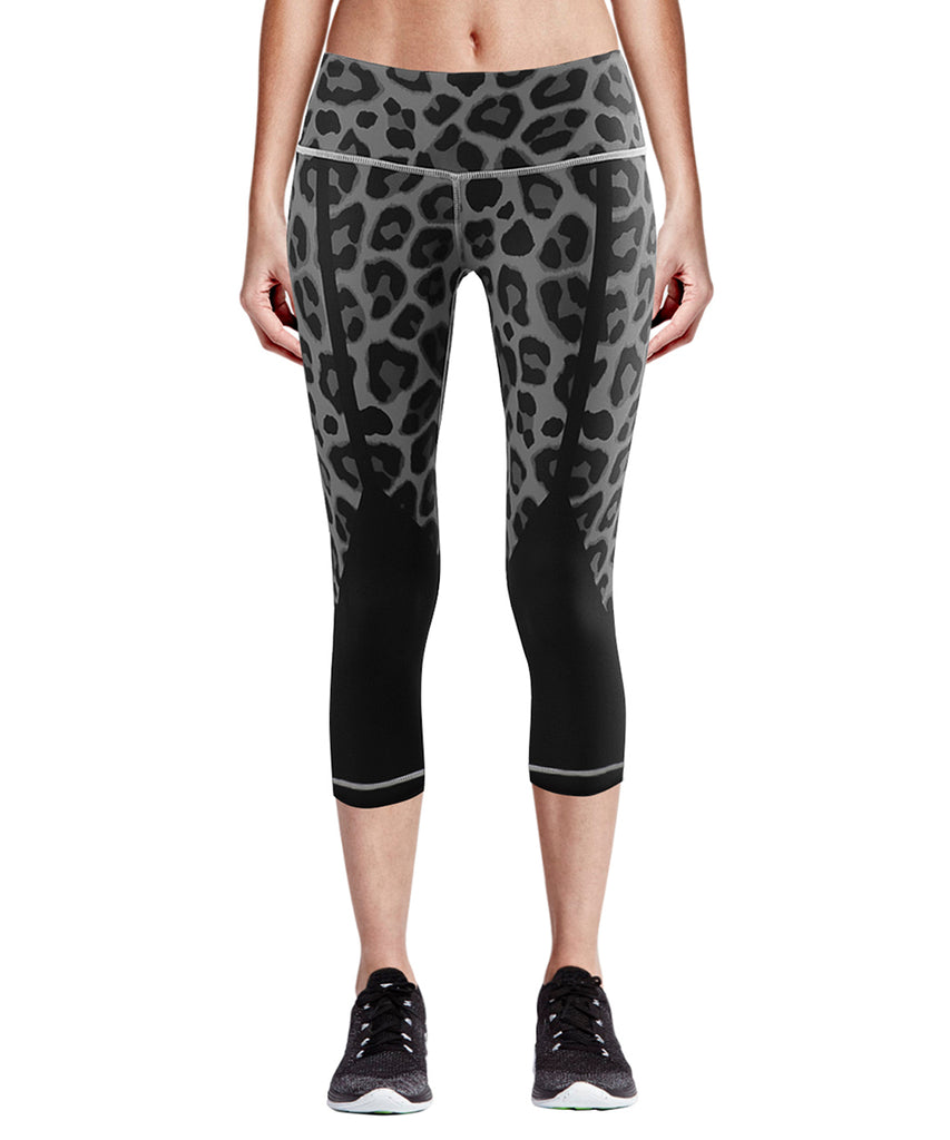 black&gray leopard pattern design compression capri pants