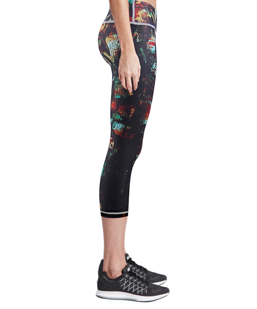 black compression capri leggings pants for women