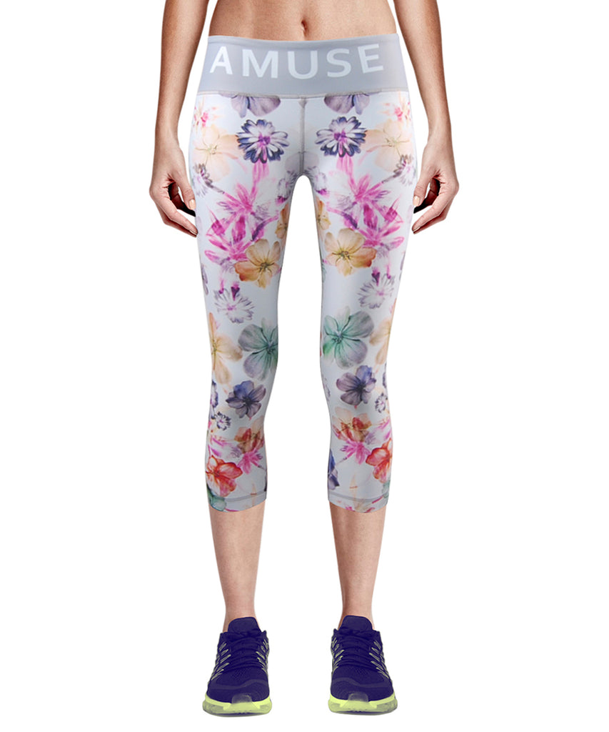 white flower compression tight fit capri pants