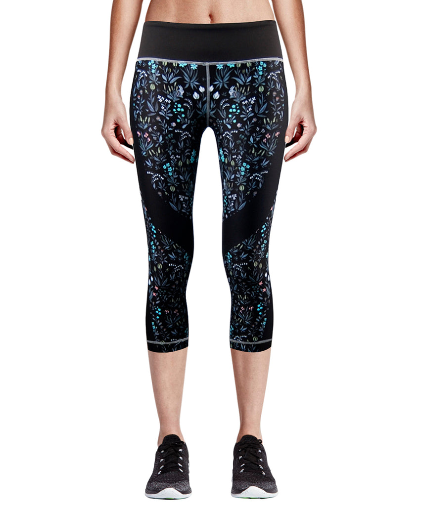 flower pattern athletic capri pants for women