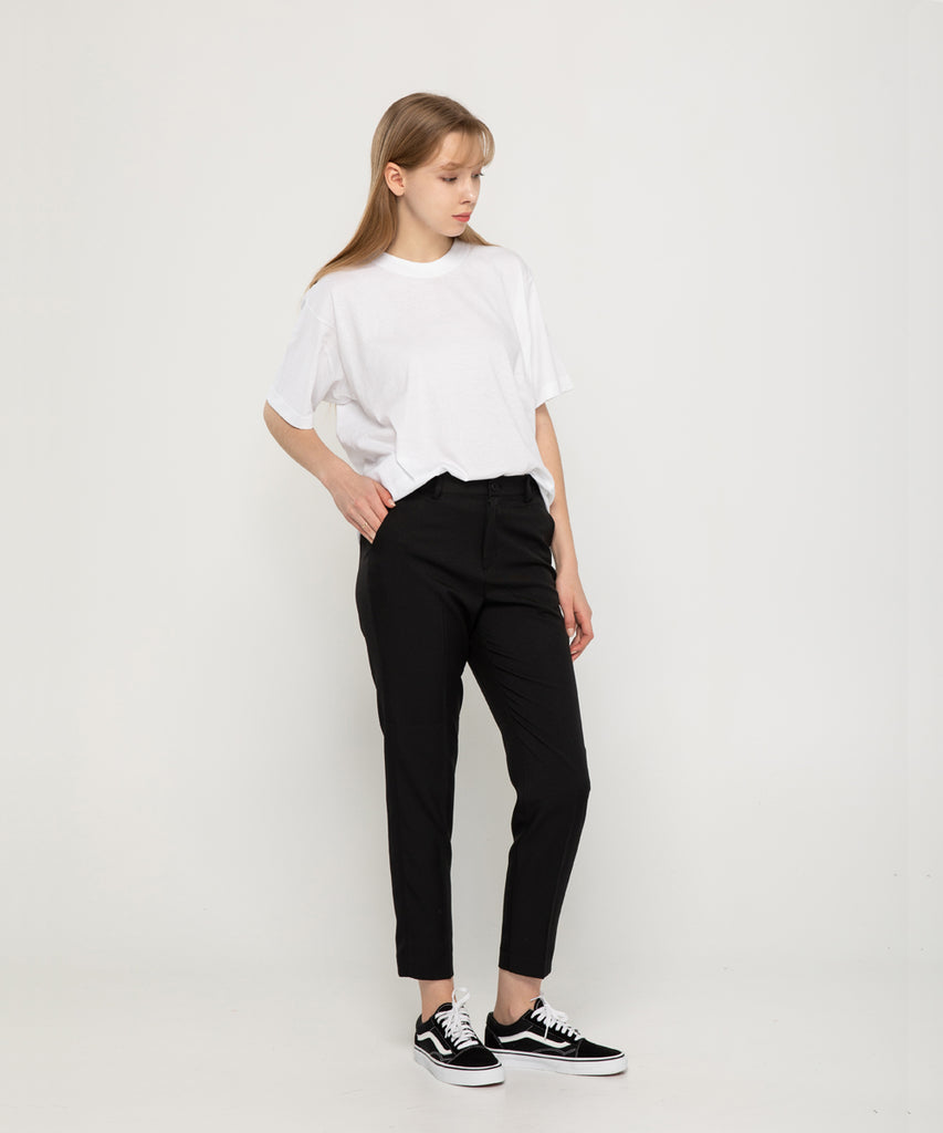 black straight fit women slacks