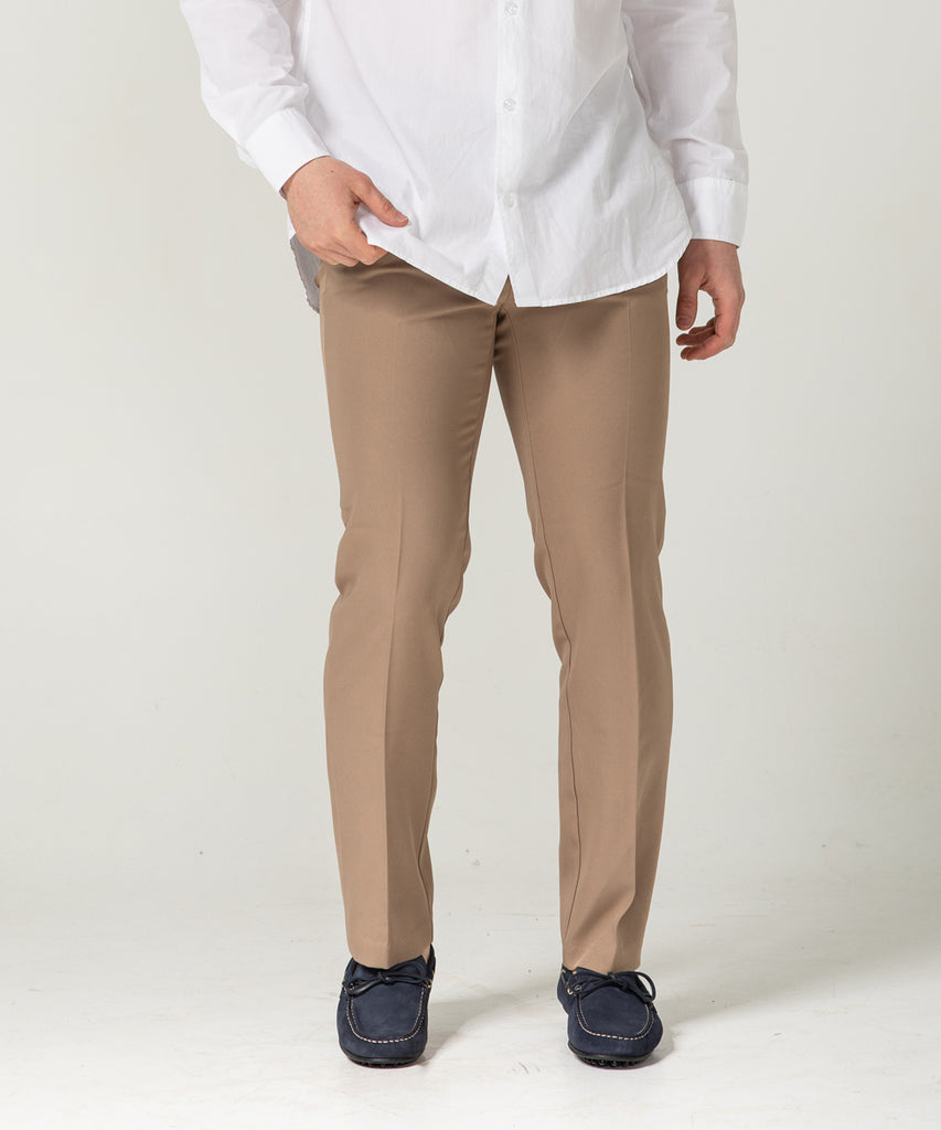 beige straight fit slacks pants