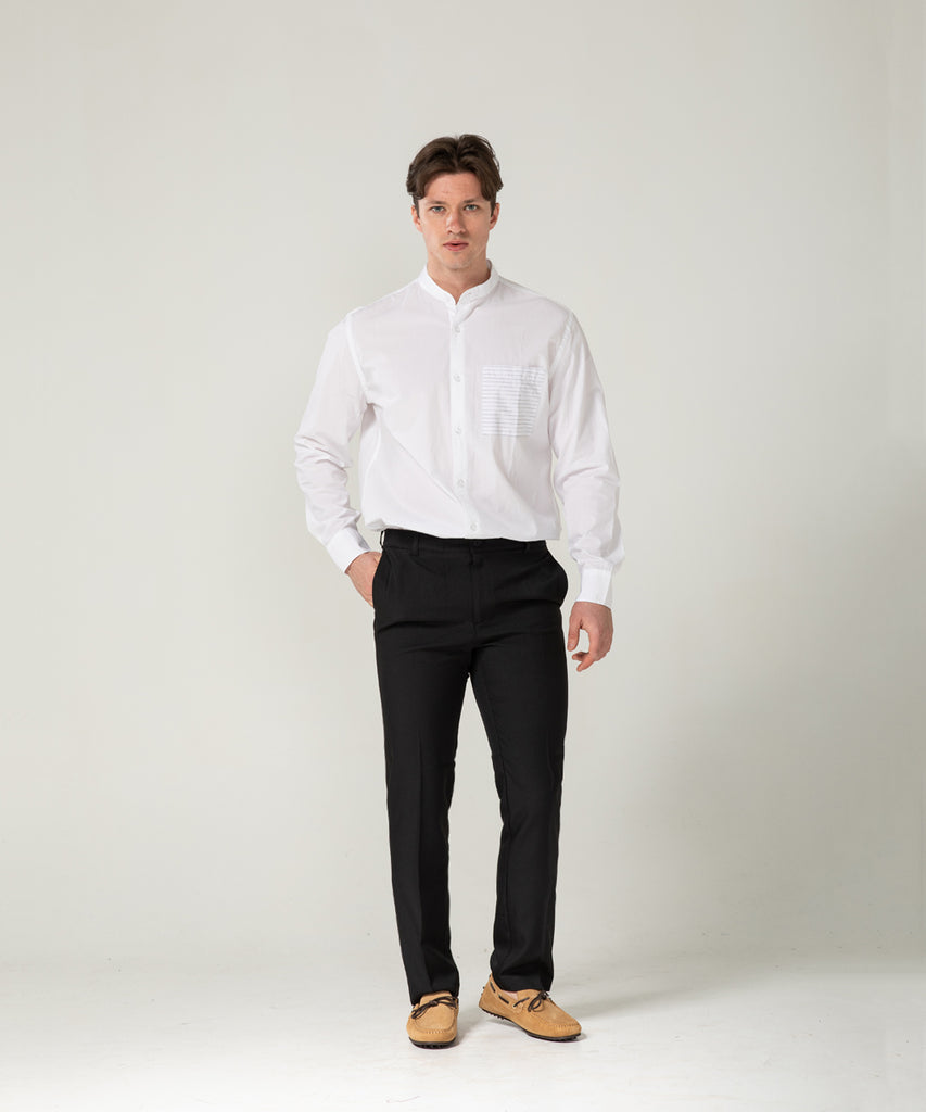 black straight fit slacks pants