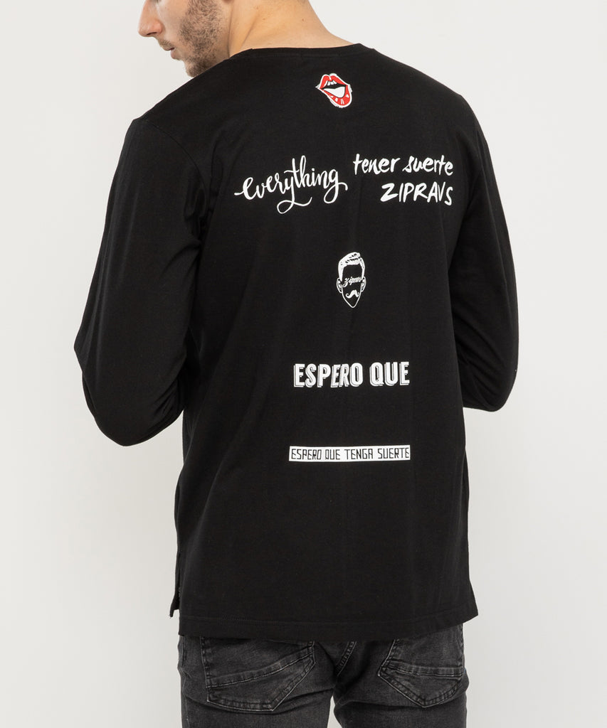 black long sleeve lettering back design