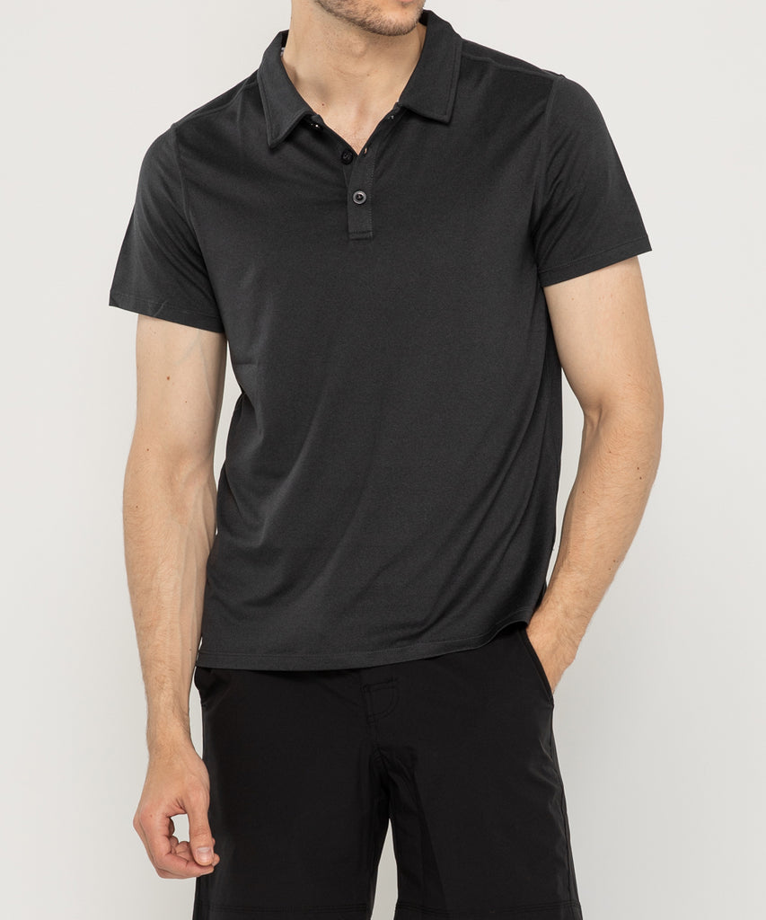 black recycled polyester polo shirt