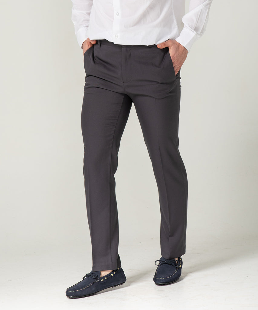 charcoal straight fit slacks pants
