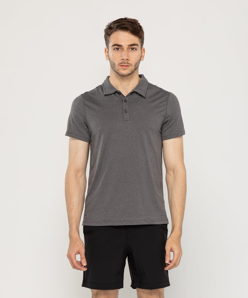 charcoal recycled polyester polo shirt