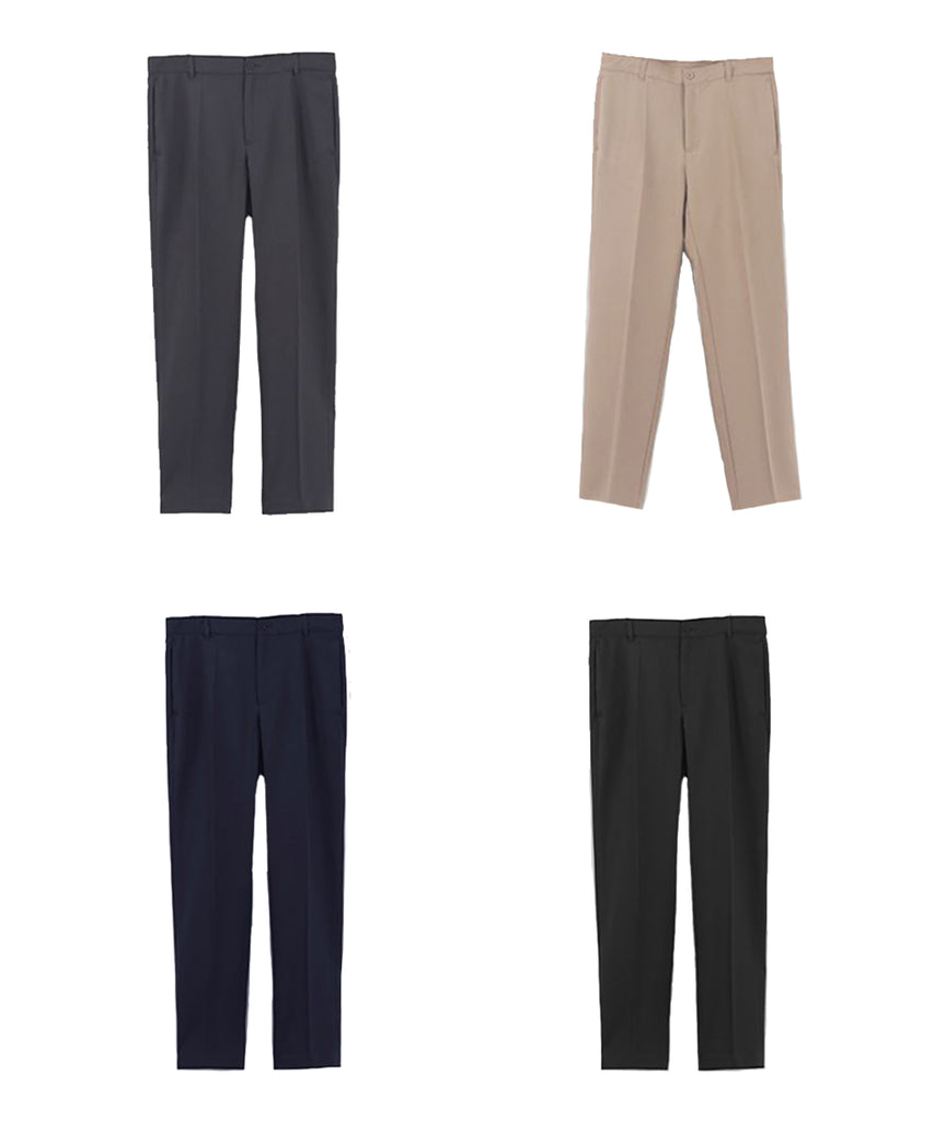 charcoal,beige,navy,black straight fit women slacks