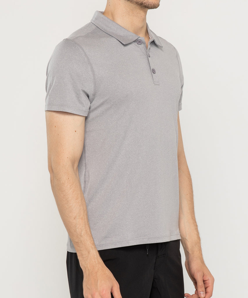 grey recycled polyester polo shirt