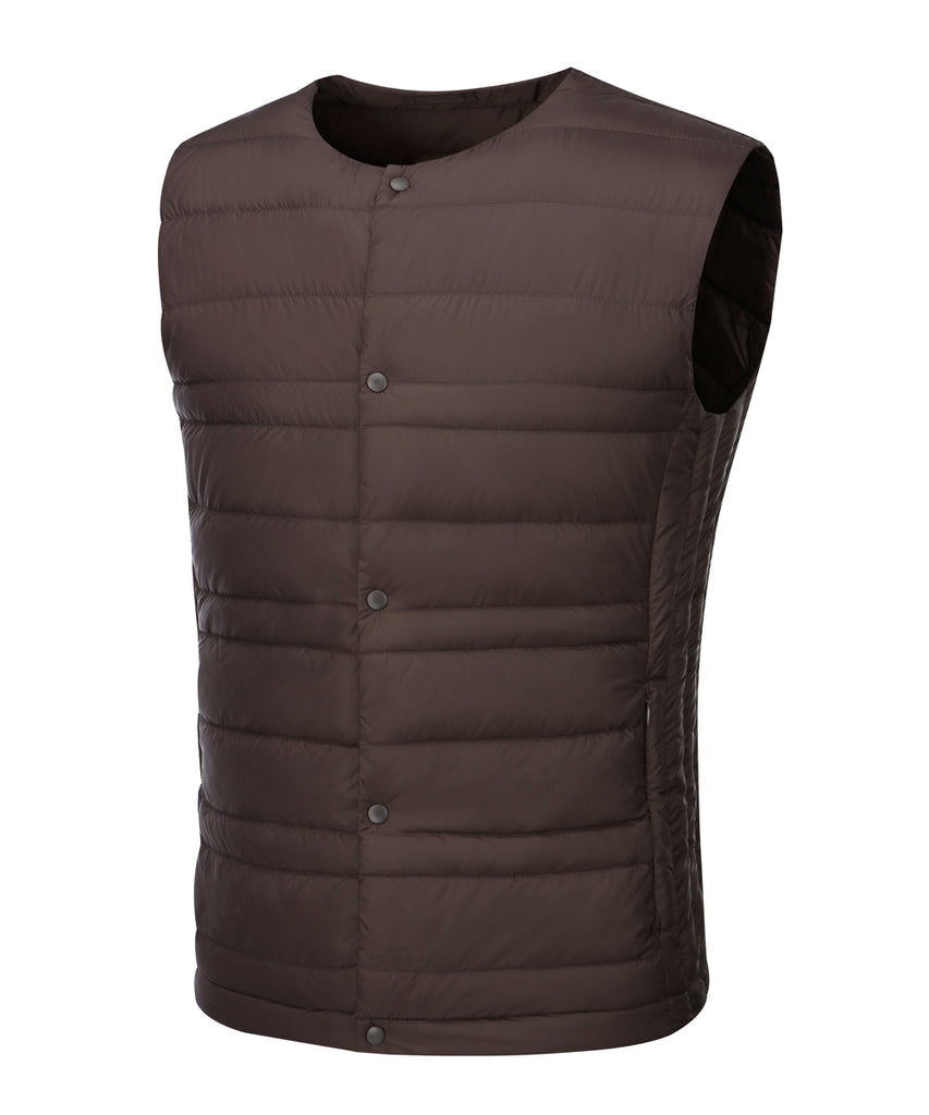 mens ultra light weight down vest dark wine