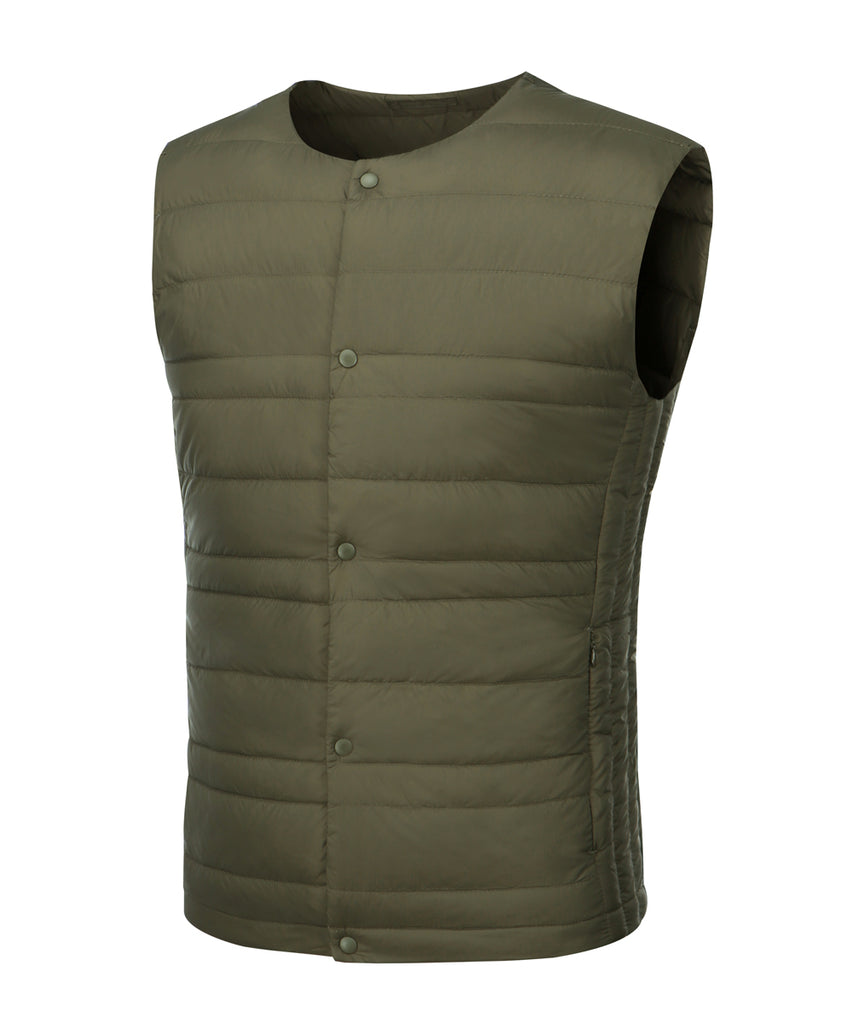 mens ultra light weight down vest khaki