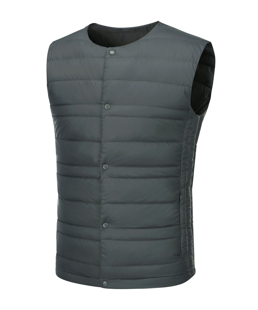 mens ultra light weight down vest slate grey