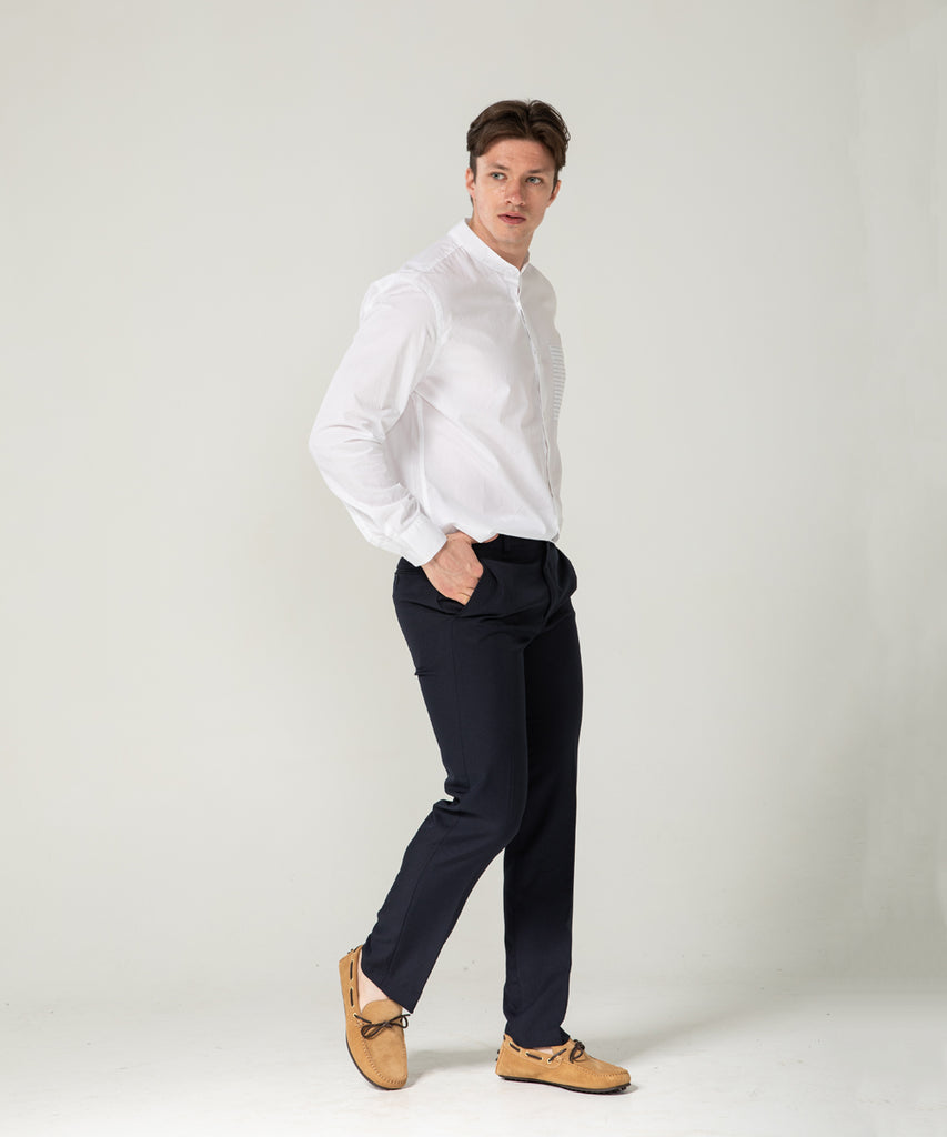 navy straight fit slacks pants