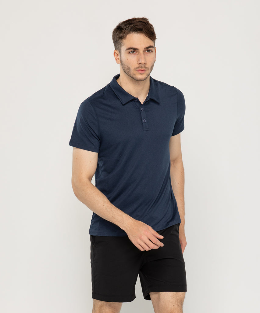 navy recycled polyester polo shirt