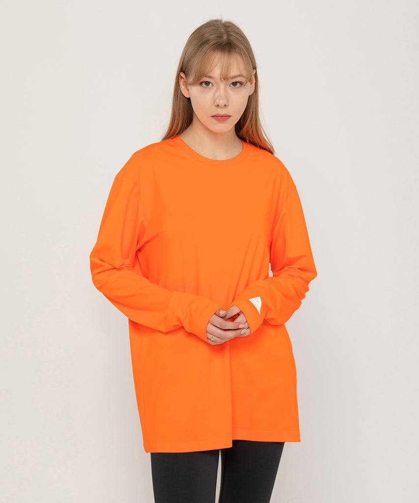 orange loosefit long sleeve rashguard&size:XX