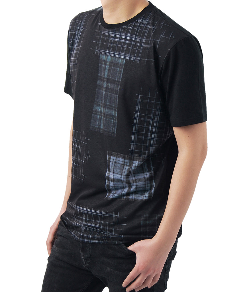 check dark blue graphics pattern black short sleeve