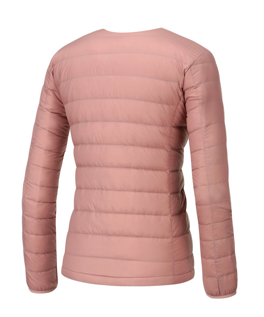women down jacket coral pink back