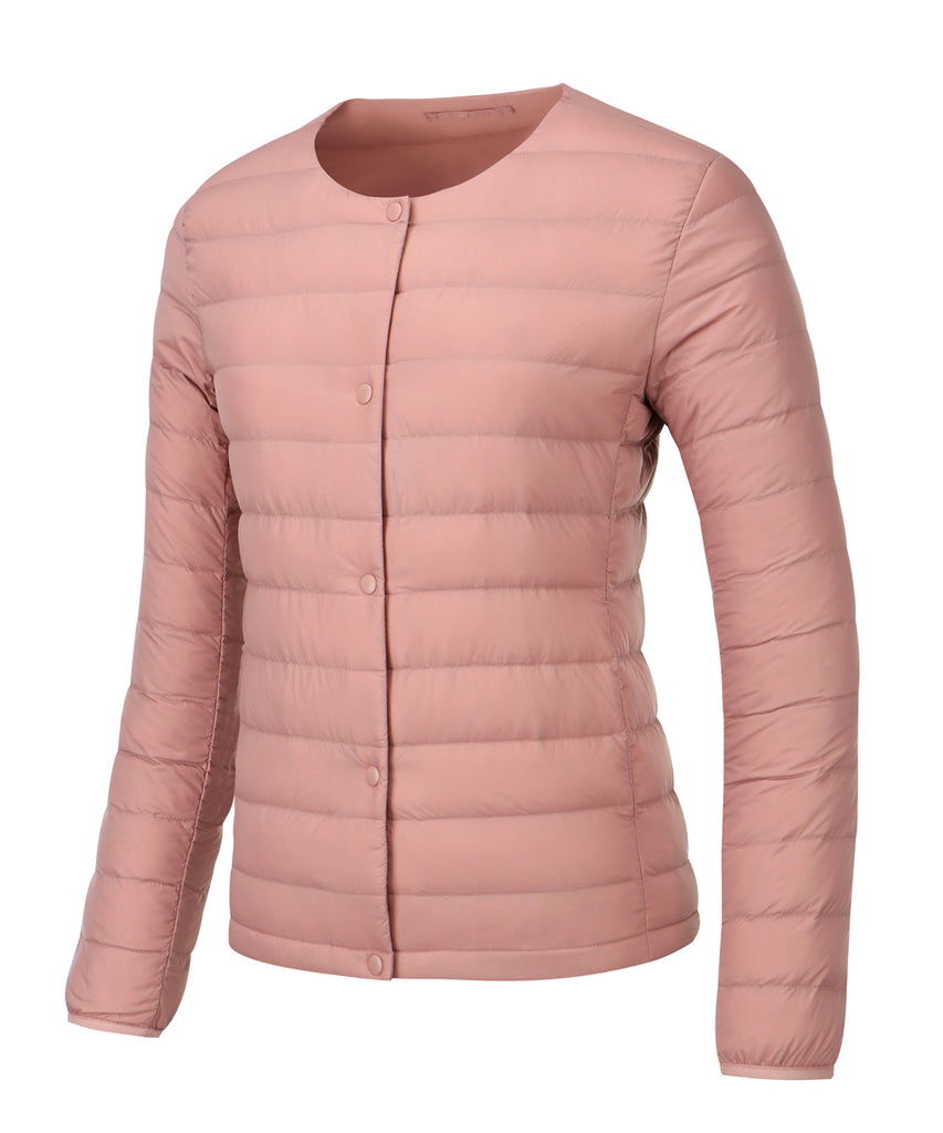 women down jacket coral pink front