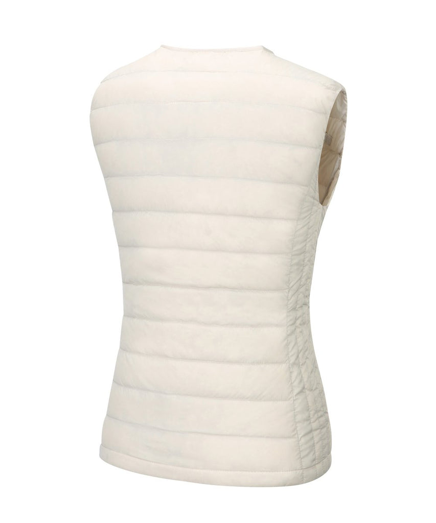 womens down vest ivory back