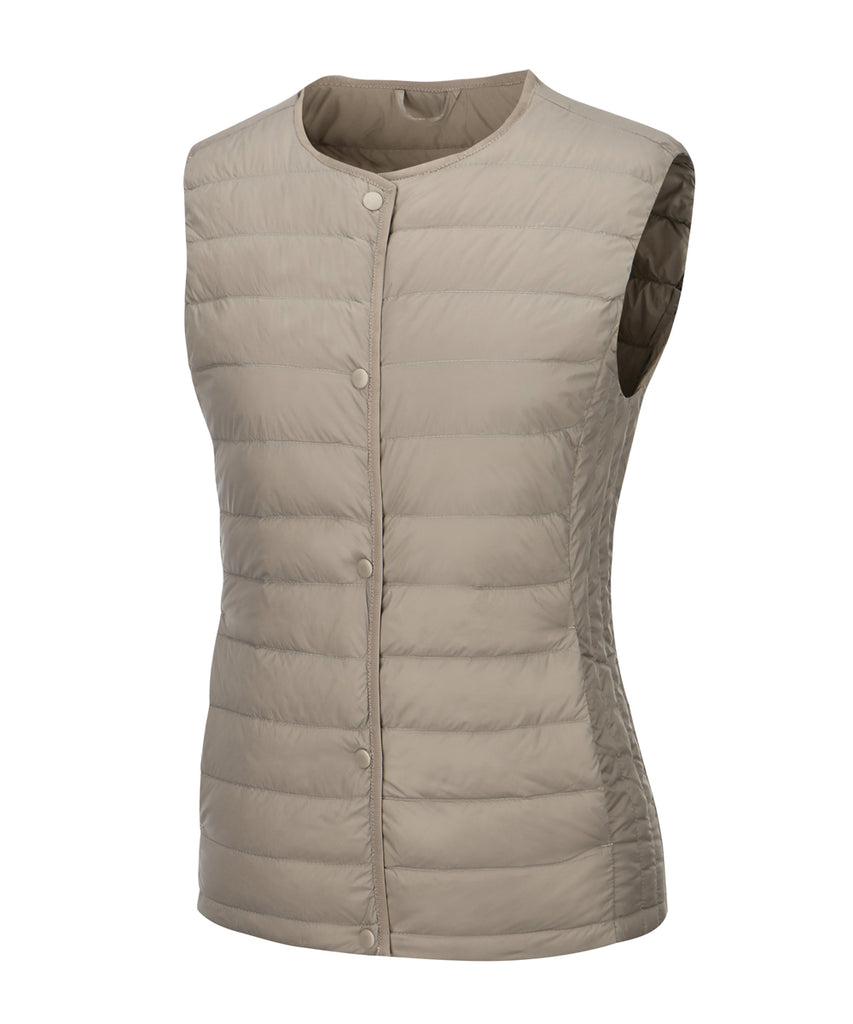 women down vest light brown