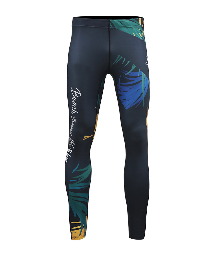front-colorful leaf design compression fit summer leggings