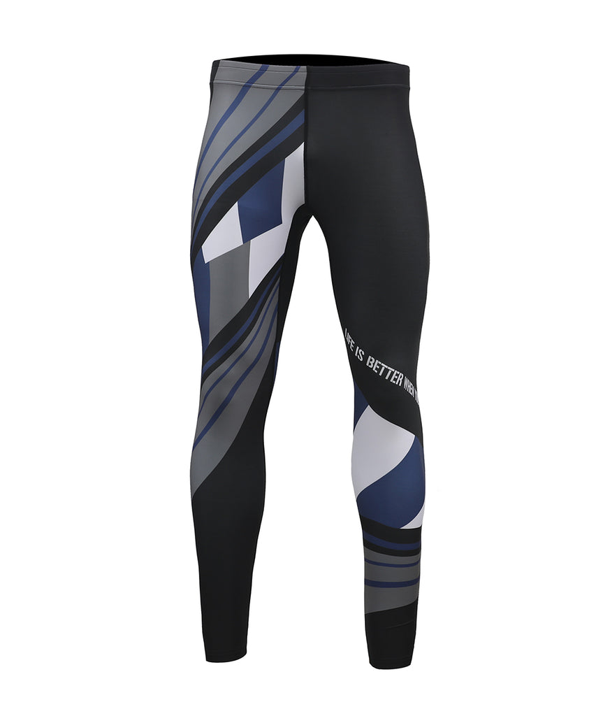 black&navy&gray color compression fit leggings