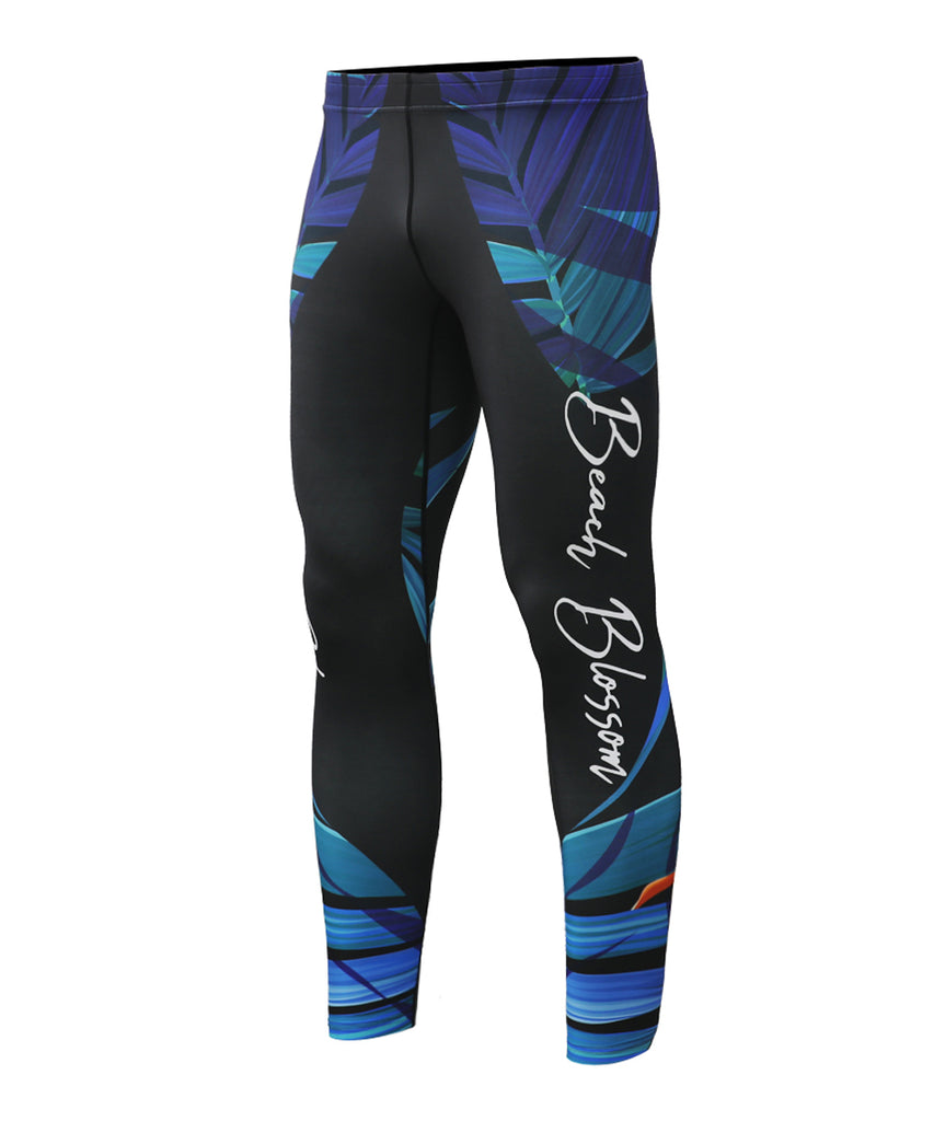 Blue leaves&flower pattern design active sports workout leggings