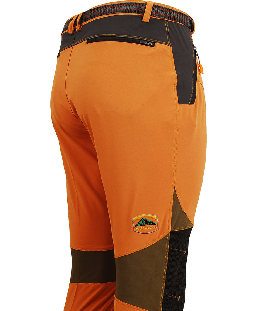 detail view / orange lightweight hiking long pants