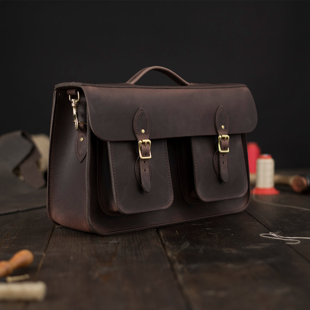 Double Front Pocket for Leather Bag